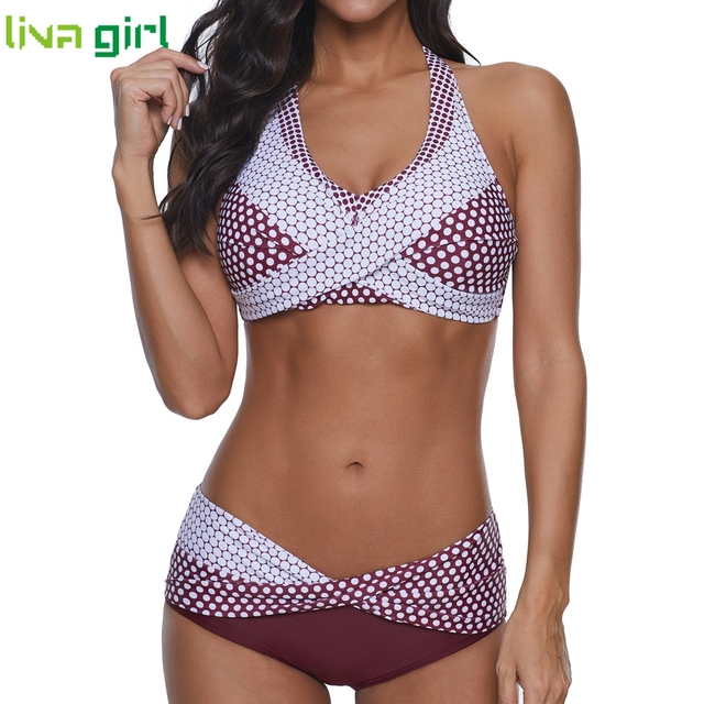 Liva girl Polka Dots Bikinis Set Sexy Swimsuit Push Up Brazilian Bikini Suits Female Swimming Bikini Maillot De Bain Plus Size 8