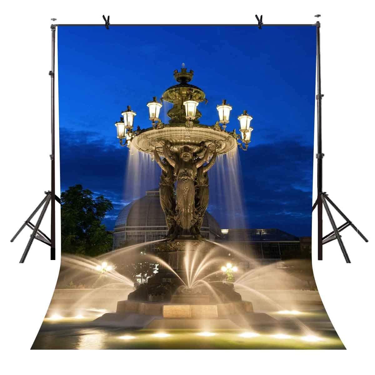 5X7 футов синий фонтан ночной фон городской площади скульптура для фотостудии фон