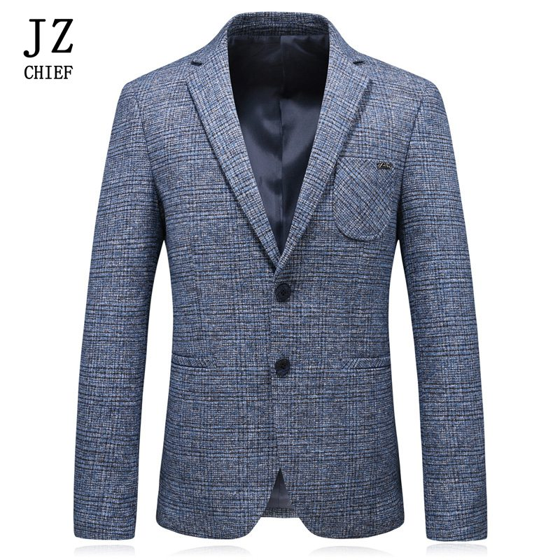 JZ CHIEF Custom Jacket Men Blazer Korean Spring Autumn Casual Regular Fit Blazer Coat Plaid Striped Printing Jacket Coat Outwear