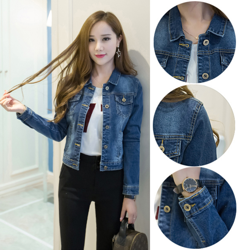 HTB1vjXSaUY1gK0jSZFMq6yWcVXab Women Short Jeans Jacket Slim Turn Down Collar Long Sleeve Button Denim Outwear New Chic Vintage