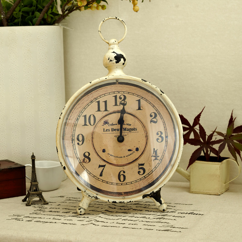 Circle clock vintage retro tieyi finishing desktop decoration fashion decoration clocks new arrival