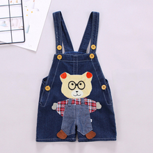 DIIMUU New Fashion Infant Clothing Boys Girls Denim Shorts Pants Casual Overalls Cartoons Jeans Trousers Suspender Pant For 1-3T недорого