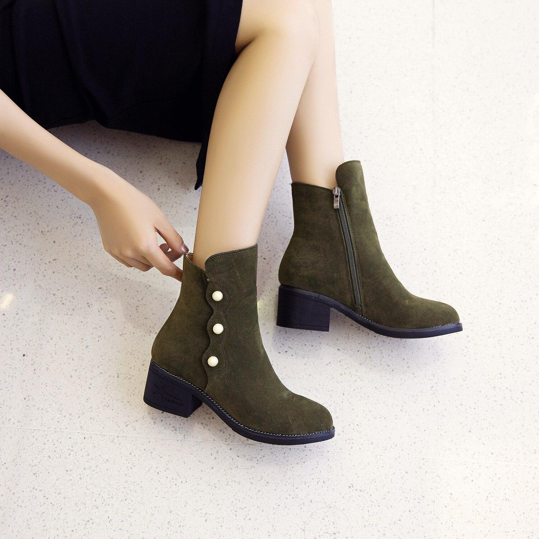 Peluche forme Femelle Plates army Dames Femmes Noir D'hiver De Zipper Sneakers Casual Bottes Plate Green En Neige Chaussures Cheville Flock Boot 4AL5q3Rj