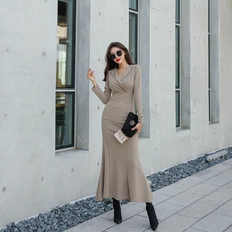 Nouveauté mode confortable solide longue robe de trompette travail style vintage élégant en plein air tempérament fête vacances dame robe