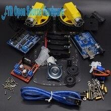 Умная Электроника Двигатель Смарт робот шасси автомобиля Комплект Предотвращение отслеживания Скорость кодер Батарея коробка 2WD Ультразвуковой Модуль