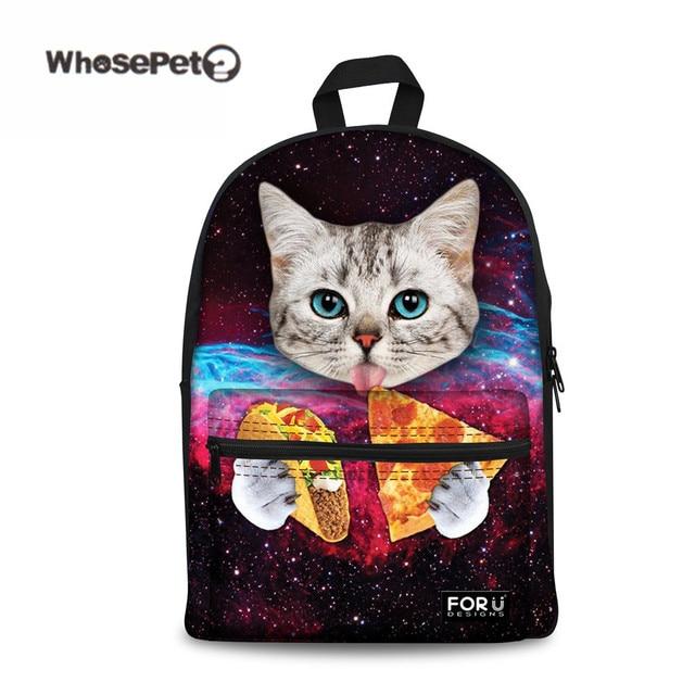 Whosepet Galaxy Cat Unicorn Tumblr Canvas School Bag For
