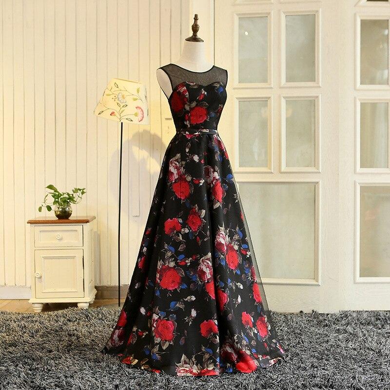 baile tule preto flores vermelhas padrão vestidos