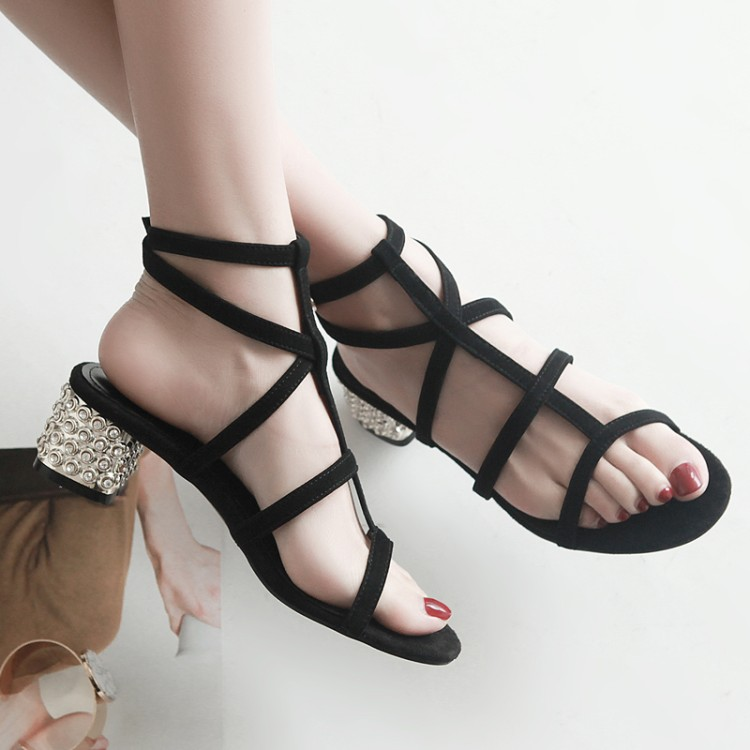 2017 Newly Black Suede Leather Pearl Thick Spike Heels Gladiator Sandals Sexy Open Toe Rome Style Cross-Tied Women Dress Sandals