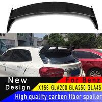 Para mercedes-benz alta qualidade fibra de carbono spoiler x156 gla classe gla200 gla250 gla45 2015-2018 asa traseira spoiler de fibra de carbono