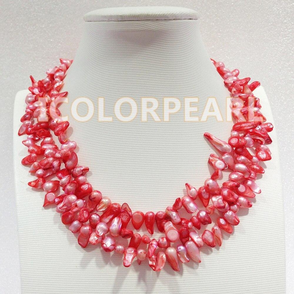 WEICOLOR charmant collier de bijoux en perles d'eau douce naturelles en forme de queue rose à 3 brins. le meilleur cadeau pour le printemps!