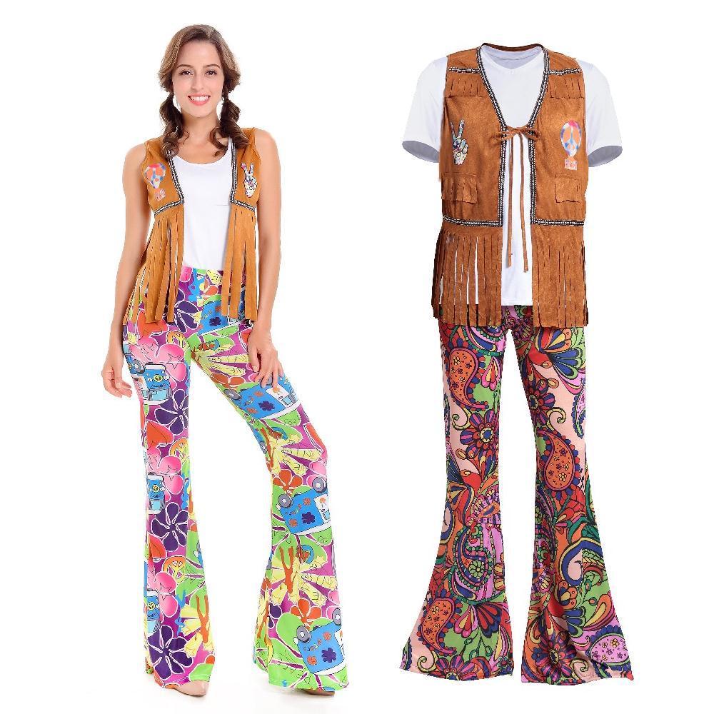 cute cheap buying now recognized brands US $20.8 28% di SCONTO|Stile retrò Hippie Uomo Abbigliamento Donna 50 S 60  S Europa Costumi Stage Performance per Night Club Halloween Costume Cosplay  ...