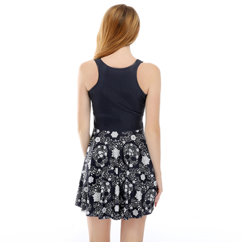 Gothic Floral Skull Print Pleated Mini Dress 1
