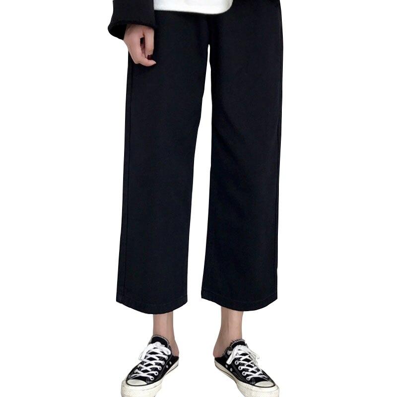 Pantalons jean femmes jambe large pantalon fille été coréen vêtements décontracté coton Ulzzang pantalon Harajuku Roupas Calca riyona