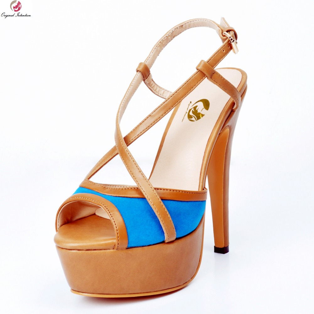 Original Intention New Sexy Women Sandals Popular Peep Toe Thin Heels Sandals High-quality Blue Shoes Woman US Size 4-15 hot selling sexy sloid thin heels sandals woman new desig lace red white black sandals peep toe elegant for women free sipping