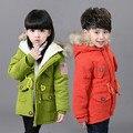 Девушка Зимняя Куртка Пальто Зимняя Куртка Для Мальчиков толстые теплые с капюшоном Дети Девушки Верхняя Одежда Малыша детские Парки