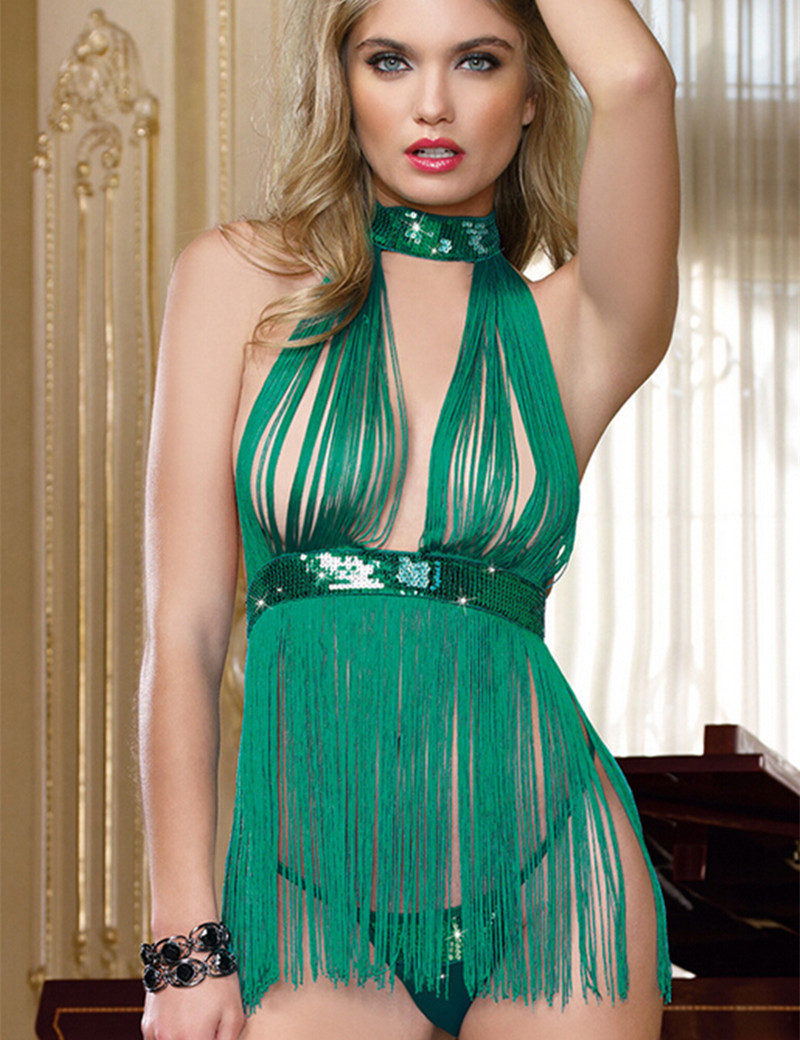 font b Sex b font Clothes backless Women Lingerie Green Tassel Babydoll Panty Sexy Nightie
