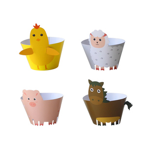 Image 2 - 12 סט חקלאי מסיבת חוות Cupcake עטיפות חיות משק עוף סוס כבשים חזיר עוגת טופר לילדים מסיבת יום הולדת קישוט