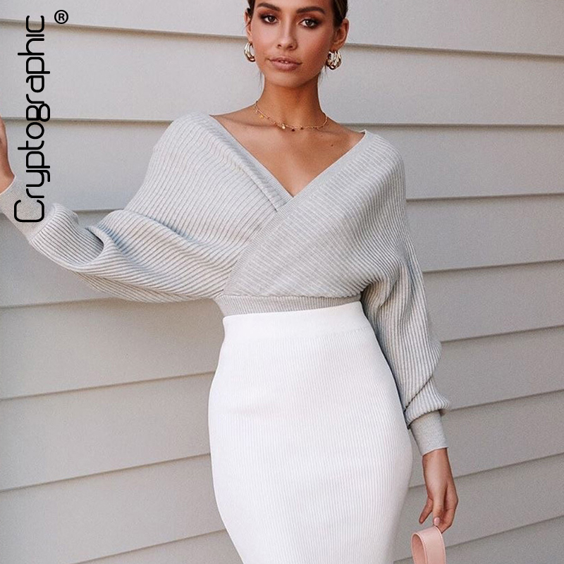 Cryptographic Sexy V-Neck Wrap Sweaters For Women Autumn Winter 2020 Jumper Fashion Loose Pull Femme Sueter Knitwear Sweaters