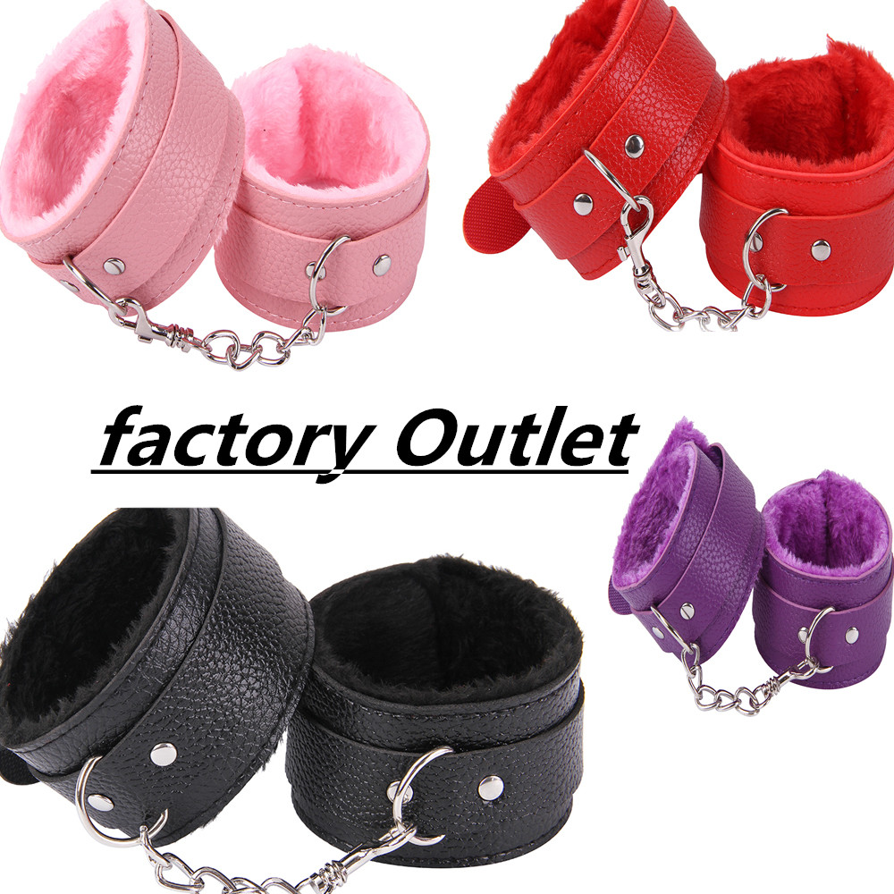 Sexy Adjustable PU Leather Plush Handcuff Ankle Cuff Restraints Bondage Sex Toy Restraints Sex Bondage Exotic Accessories