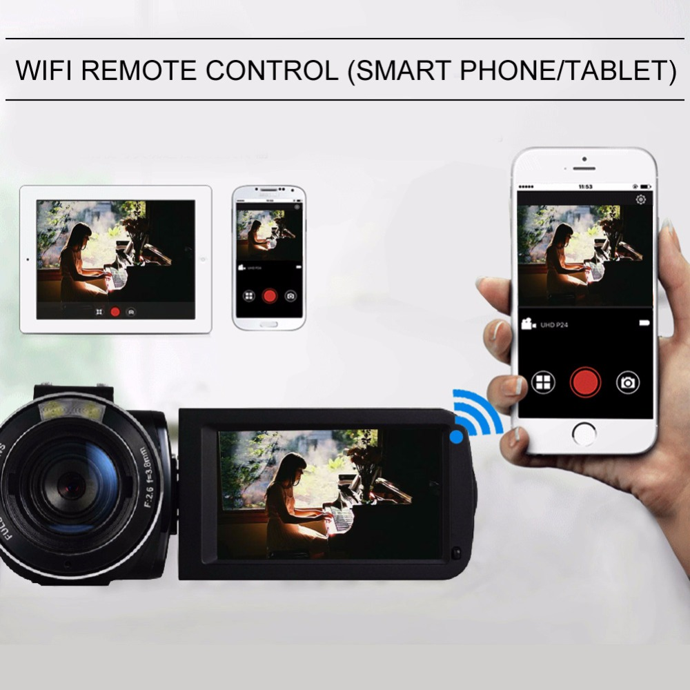 Marvie Mini Portabel WIFI Camcorder FHD 1080p@30 FPS Max 24.0 MP 16X Digital Zoom External Microphone Video Recorder DV 2