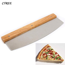 CTREE 1PCs Pisa Knife Stainless Steel Beech Big Handle Pizza Cutter Baking Tool Cake Bread Round Tools C290