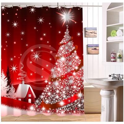 U412 55 Custom Home Decor Christmas Decoration Background Fabric Modern Shower Curtain European Style Bathroom Waterproof