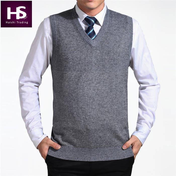 200fc86e071a9 Sa alta calidad 2015 recién llegado del Color sólido Jersey chaleco de  Hombre lana suéteres de cachemira de marca para Hombre Pullover sin mangas  Jersey ...