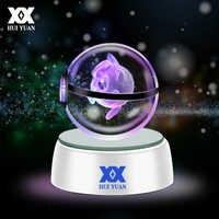 Хуэй юань 3D Хрустальный светодио дный шар Светодиодные лампы для серии Pokemon Пикачу/Gengar/Jigglypuff 5 см настольные украшения свет стекло мяч HY-668