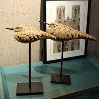 Wood Seabirds 2pcs Set,Mediterranean Style Parent child Bird Decoration Gift,Wooden Wedding Home Decor Animal Figurine Crafts