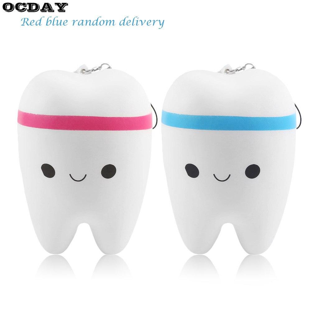 OCDAY 11cm Adorable Teeth Soft Slow Rising Jumbo Upscale Jumbo Squishy Kawaii Fun Squeeze Toys Strap Pendant Toy Novelty New Hot