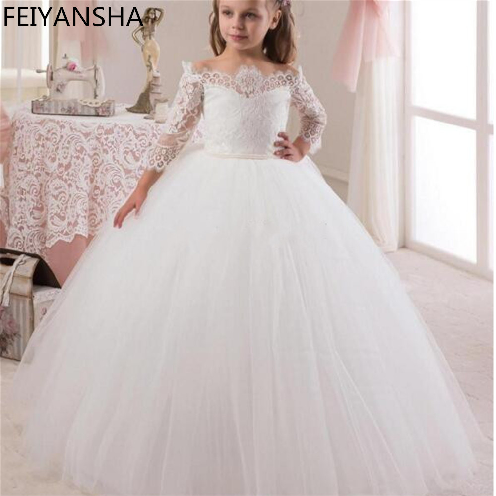 Luxury White Ball Gown Flower Girl Dresses Girls Pageant Gowns Arabic First Communion Dresses For Girls 2019 Vestidos Daminha