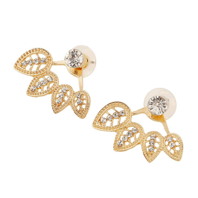 2017 New Cute Zircon Crystal Silver Gold Colors Ear Cuff Clip Leaf Stud Earrings For Women