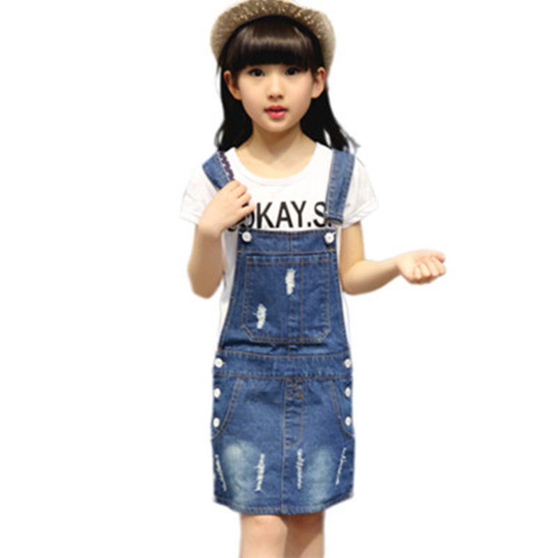 Summer Teenager Girls Casual Denim Jeans Overalls Dress Hole Children Metal Buttons Sundress Kids Suspender Girl Denim Dresses