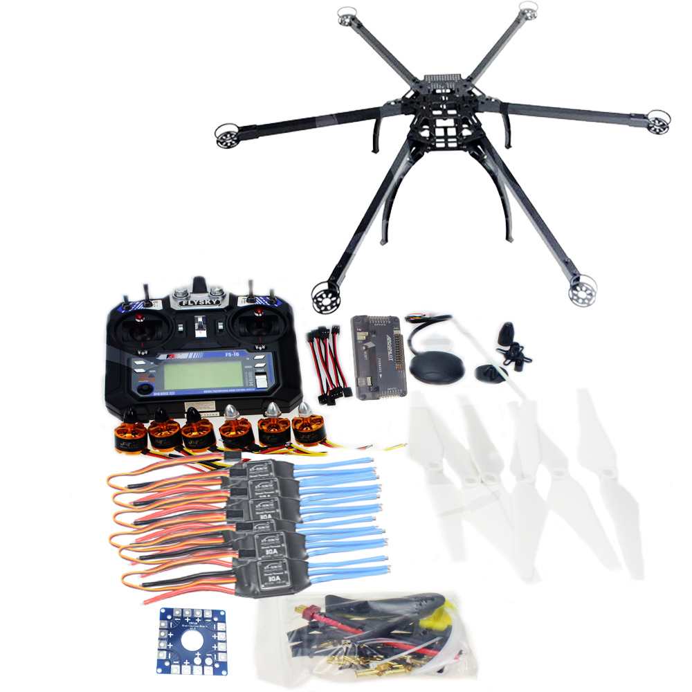 Six-axle Hexacopter Unassembled GPS Drone Kit with Flysky FS-i6 6CH 2.4G TX&RX APM 2.8 Multicopter Flight Controller F10513-F drone upgraded apm2 6 mini apm pro flight controller neo 7n 7n gps power module
