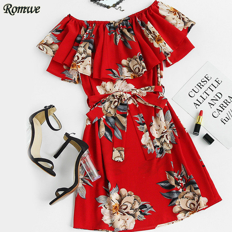 ROMWE Floral Print Layered A Line Dress With Belt Short Dresses for Party Elegant Red Short Sleeve Boat Neck Dress