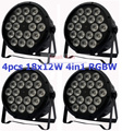 4xLot Sale 2015 18x12W RGBW Led Par Light DMX Stage Lights Business Lights Professional Flat Par Can for Party KTV Disco DJ Lamp