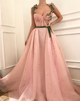 Robe de soiree Longue 2019 Arabic Pink Evening Dress Long Formal Prom Dresses Straps 3D Flower Applique Pearl Sexy Party Gown