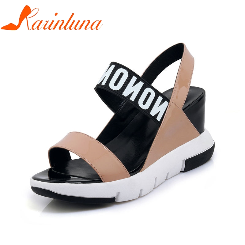 KARINLUNA 2018 New Arrival Brand Concise Genuine Leather Women Sandals Fashion Letters Platform Shoes Woman Casual High Wedges woman fashion high heels sandals women genuine leather buckle summer shoes brand new wedges casual platform sandal gold silver