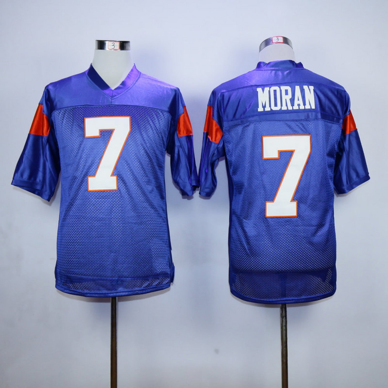 Alex Moran #7 Mountain Goats Football Jersey Blue State TV Uniform Costume White