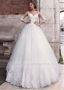 Image 3 - Chic Tulle Jewel Neckline A line Wedding Dress With Lace Appliques 3/4 Sleeves Bridal Gowns Illusion Back robe de mariee