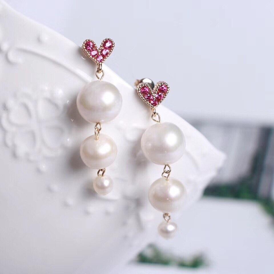 Boucles d'oreilles perles d'eau de Fresherwater 925 argent pour femmes dame femme cadeau d'amour classique en forme de coeur bijoux de mode 10mm 8mm 5mm perles
