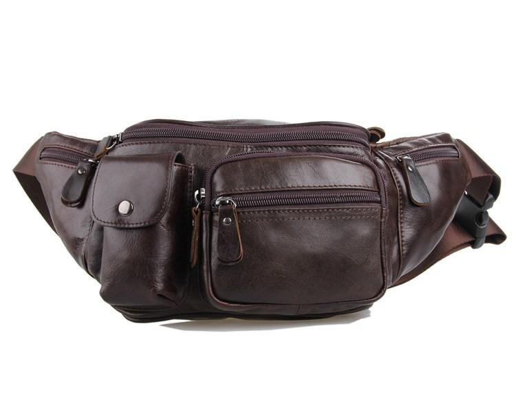 Vintage genuine leather waist packs fanny pack Fashion men small travel bag Pocket sports waist wallet  for men Free shipping (1)