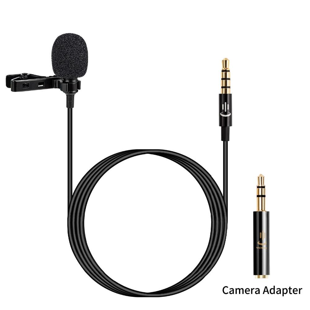 Microfone de lapela de lapela microfone condensador de vídeo para iphone samsung android huawei xiaomi smartphones ipad, canon nikon sony dslr