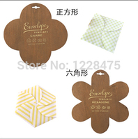Freeshipping New Wooden Square Envelope Template Six Square Envelope Manual Stencil Mould Make Envenlops