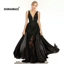 Doragrace robe de soiree Sexy Deep V-Neck Backless Illusion Tulle Lace Prom Gowns Black Evening Dresses with Detachable Train