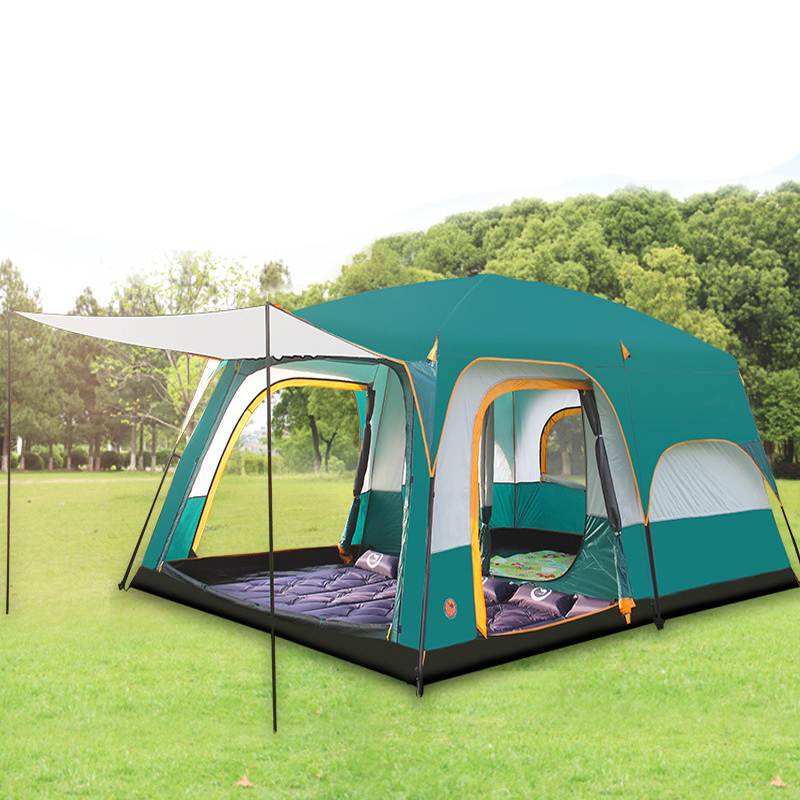 New version ultralarge double layer 5-8 person use one hall two bedroom outdoor family party camping tentNew version ultralarge double layer 5-8 person use one hall two bedroom outdoor family party camping tent