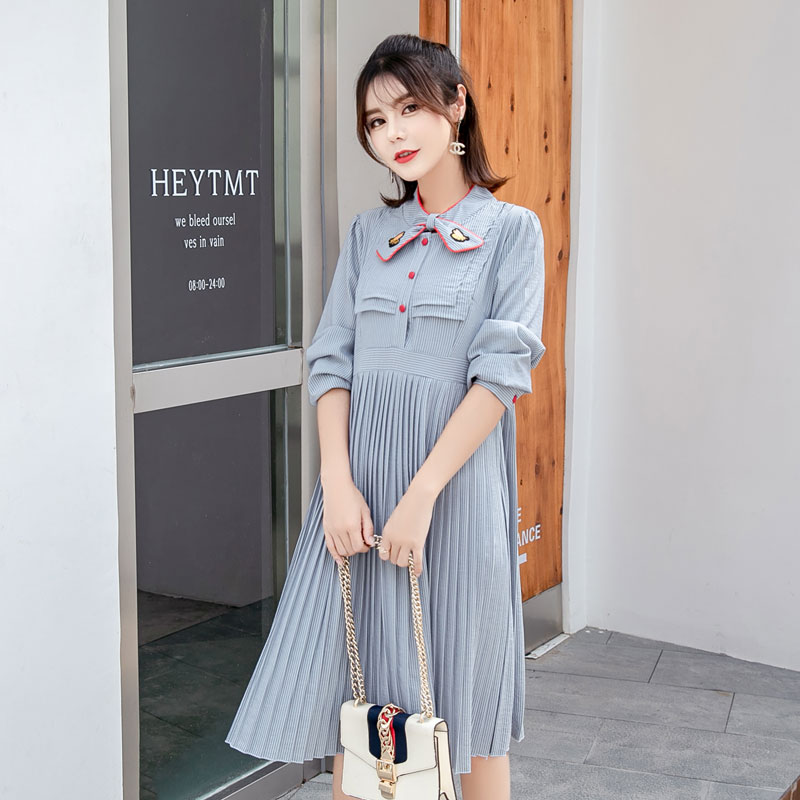 2ddbbde273 ... Fall Pregnancy Clothing. . 8857  Sweet Quality Strip Pleated Maternity  Dress 2018 Autumn Korean Fashion Clothes for Pregnant Women. sku   32919039423