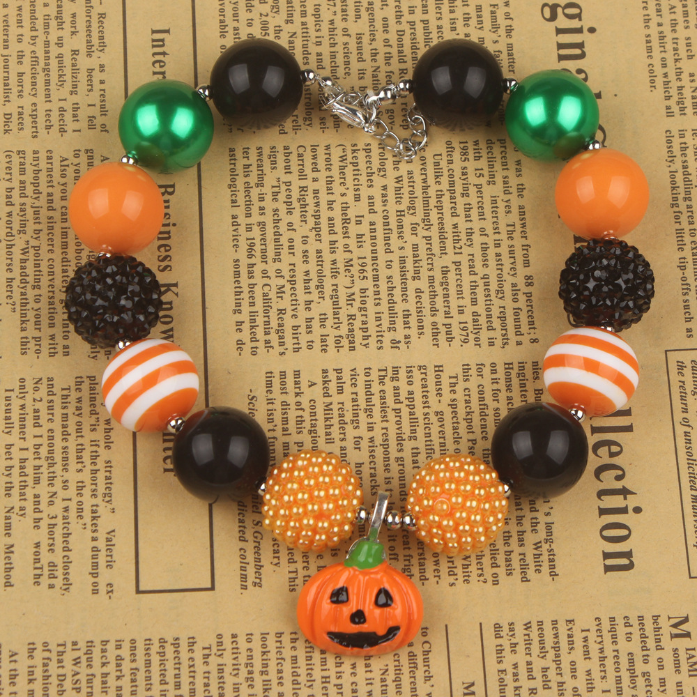 Toddler Kids Jewelry Halloween Gift Pumpkin Pendant Girls Children Chunky Bubblegum Necklace Halloween Party Outfits Accessories