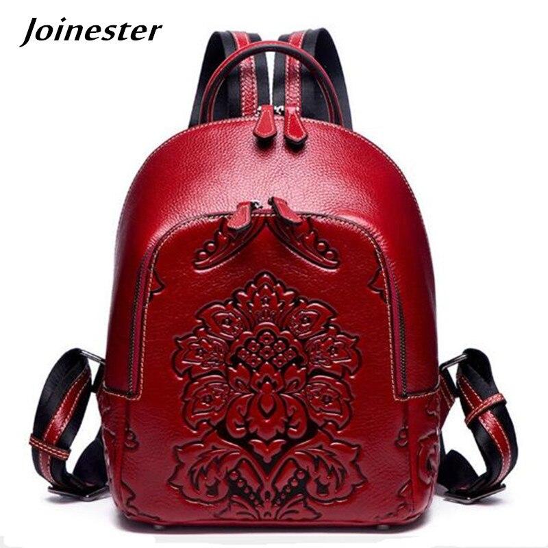 Fashion Leather Backpack for Women Vintage Bag Ethnic Embossing Daypack Girls School Satchel Mochila Bags for