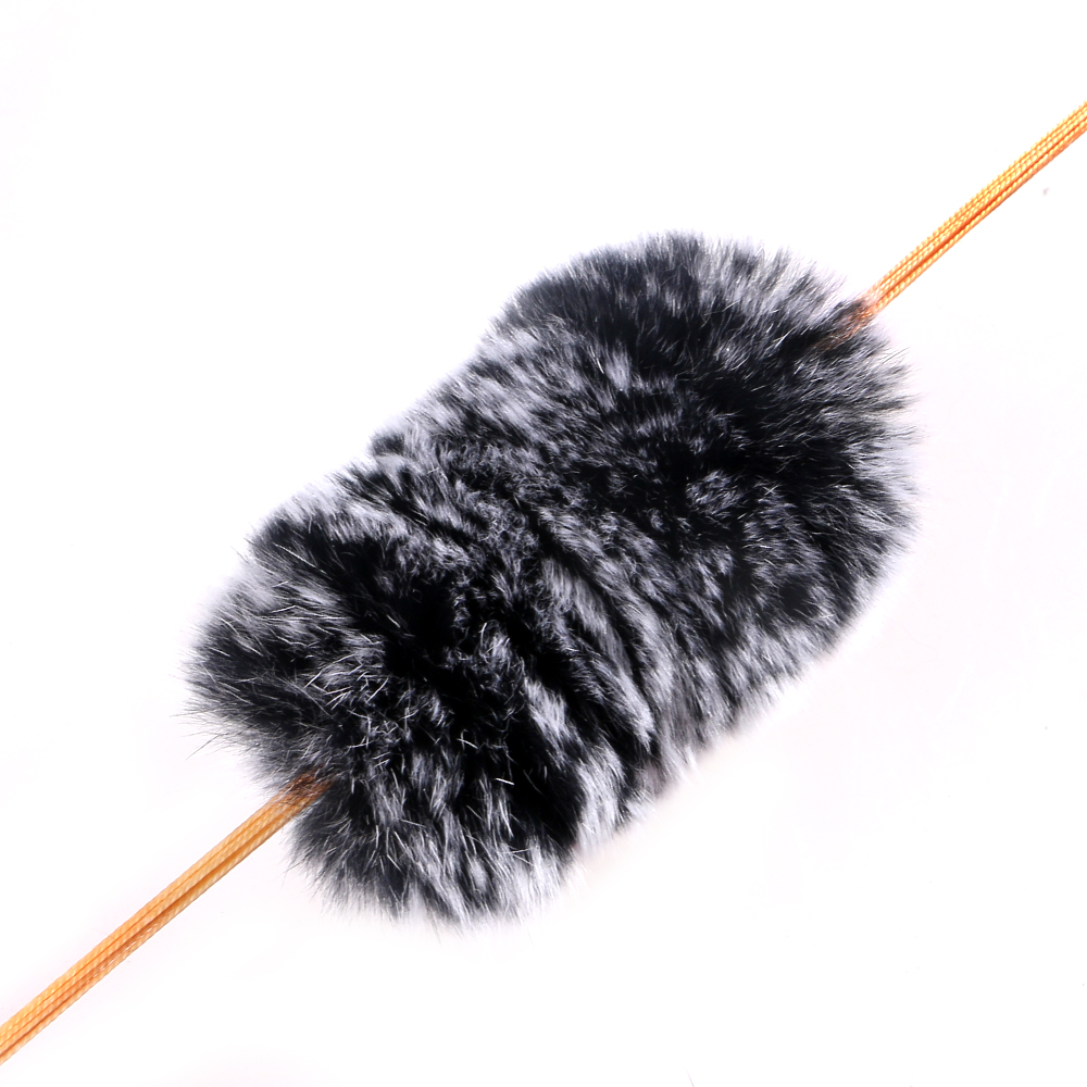1 Pair Black White Rex Rabbit Fur Furby Archery Bow Stabilizer for Outdoor Hunting
